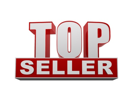 top seller: top seller text - 3d red and white letters and block, business concept