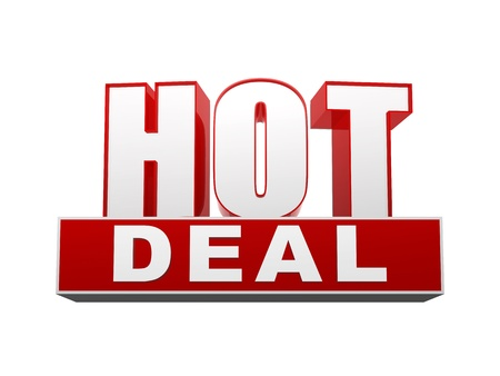 selling off: hot deal text - 3d red and white letters and block, business concept