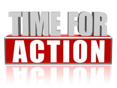 temps pour le texte d'action - 3d rouge et lettres blanches et blocs, concept d'entreprise