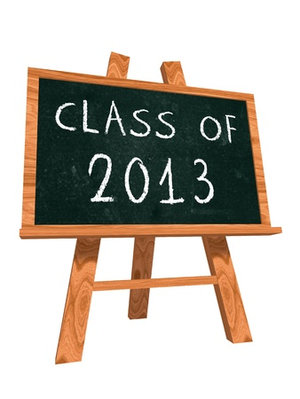 class of 2013 - chalk text on isolated easel blackboard, graduate education concept photo