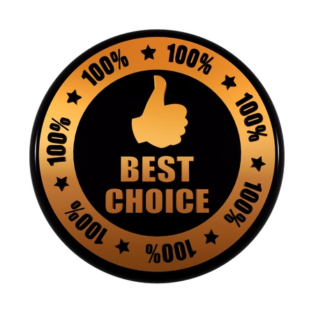 best choice 100 percentages and thumb up sign - text and symbol in 3d golden black circle label with stars, business concept photo