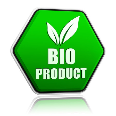 bio product with leaf sign button - 3d green hexagon banner with text and symbol, business eco concept photo