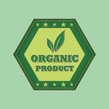 organic product and leaf sign - retro style green hexagon label with text, symbol and stars, business eco bio concept photo
