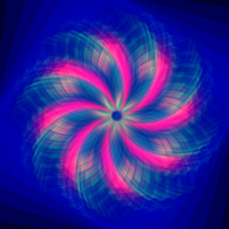 abstract pink flower, circular rose lights in curves over blue background photo