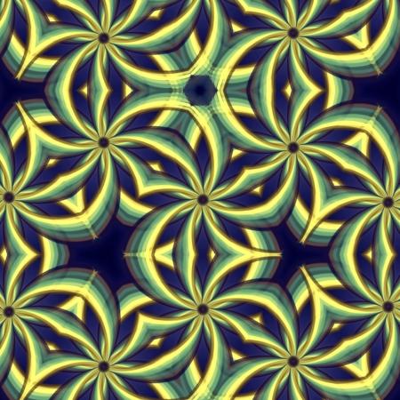 abstract vintage background, retro oriental ornament kaleidoscope, blue yellow gradient photo