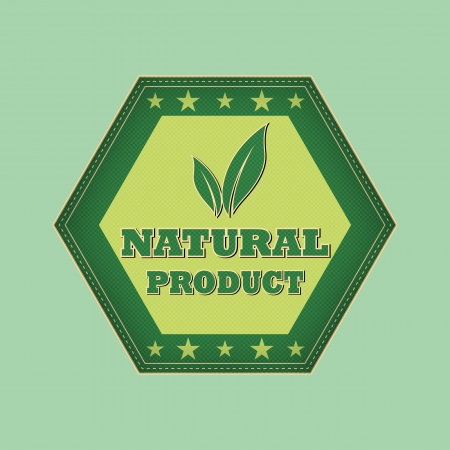 natural product and leaf sign - retro style green hexagon label with text, symbol and stars, business eco bio concept photo