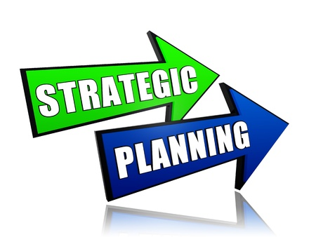 strategic planning: strategic planning - text in 3d color arrows, business concept