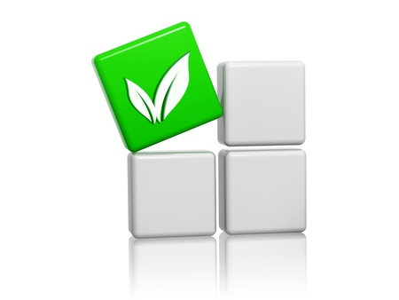 health industry: leaf sign - 3d green cube with symbol over grey boxes, business eco bio concept