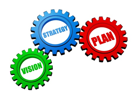 vision, strategy, plan - business concept words in 3d different colors gearwheels