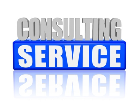 consulting service text - 3d blue and white letters and block, business concept Stock Photo - 19108644