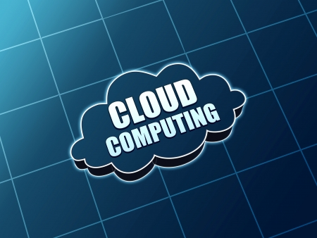 e systems: cloud computing - 3d blue figure with white text, it concept