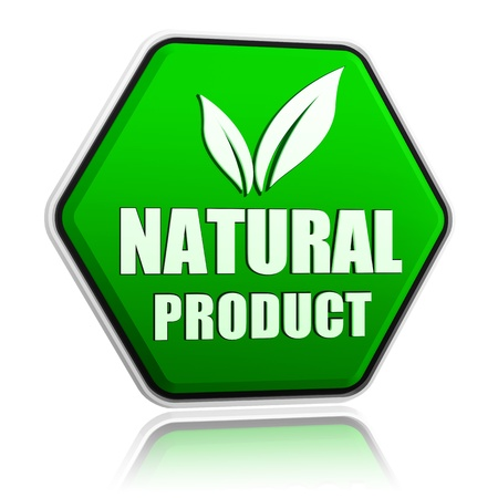 natural product with leaf sign button - 3d green hexagon banner with text and symbol, business eco bio concept photo