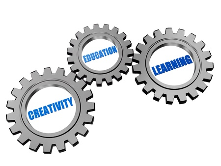 headway: creativity, education, learning - business educational concept words in 3d silver grey gearwheels