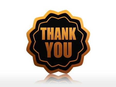 te negro: gracias - texto en 3D de oro etiqueta negro estrella Foto de archivo