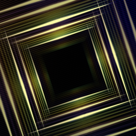ray trace: abstract green background with shining multicolored squares and lights