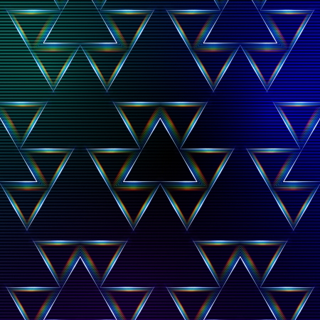 ray trace: abstract blue background with shining multicolored triangles and lights