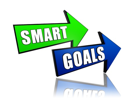smart goals - text in 3d green blue arrows, business concept words photo