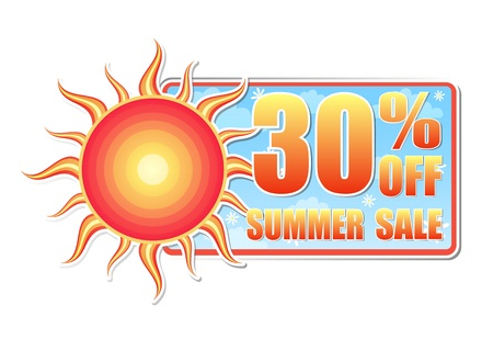 selling off: 30 percentages off summer sale banner - text in blue label with red yellow sun and white daisy flowers, business concept