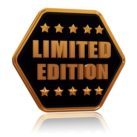limited edition - 3d black golden hexagon button with text and five stars, business concept photo