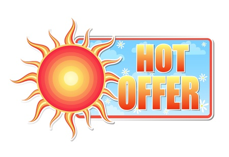 hot offer banner - text in blue label with red yellow sun and white daisy flowers, business concept photo