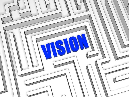 headway: vision in the centre of labyrinth, 3d blue business concept word in maze