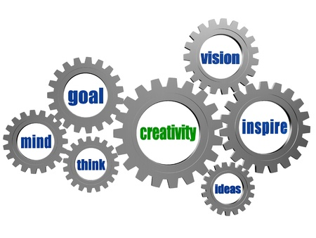 new development: creativity and concept words - text in 3d silver grey gearwheels Stock Photo