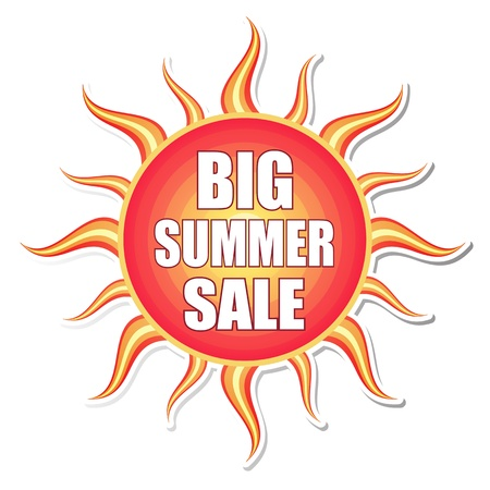 big summer sale banner - text in red orange yellow label with sun shape, business concept photo