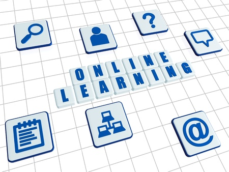 career coach: online learning and internet signs - text and symbols in 3d white blocks with blue letters, education concept words Stock Photo