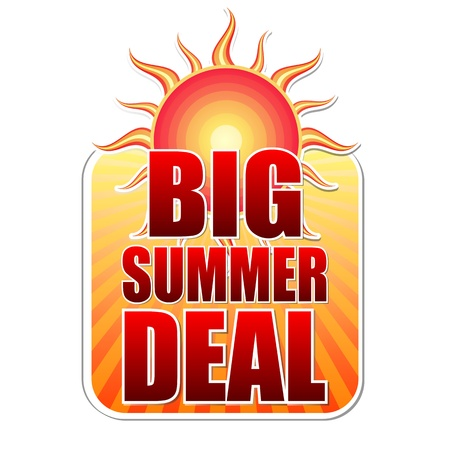 selling off: big summer deal banner - text in yellow label with red sun and orange sunrays, business concept