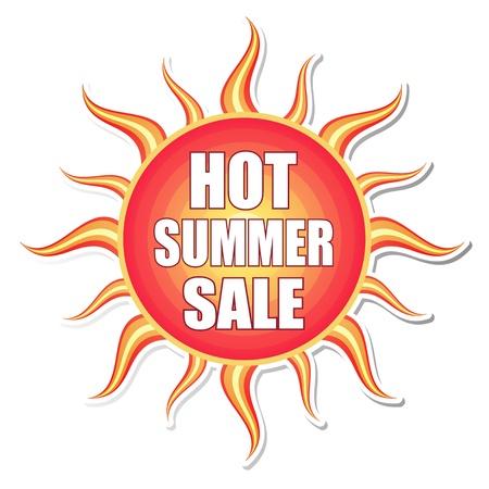 drapeau de vente chaude d'été - texte en rouge orangé étiquette jaune avec la forme soleil, concept d'entreprise