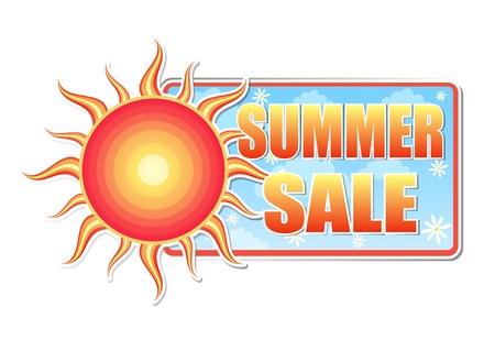 여름 판매 배너 - 빨간색, 노란색 태양과 흰색 데이지 꽃, 비즈니스 개념 블루 라벨의 텍스트