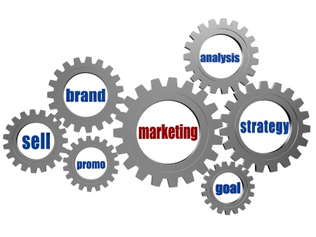 successful campaign: marketing and business concept words - brand, sell, promo, analysis, strategy, goal - text in 3d silver grey gearwheels