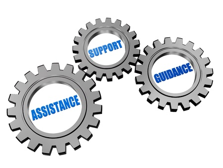 utilities: assistance, support, guidance - text in 3d silver grey gearwheels, business concept words