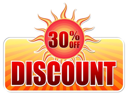 summer discount and 30 percentages off banner - text in yellow label with red sun and orange sunrays, business concept photo