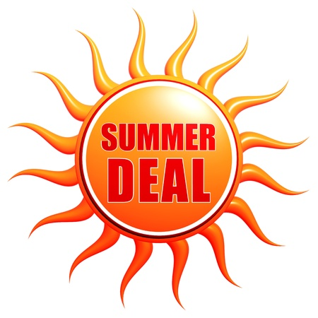 deal in: summer deal banner - text in 3d red orange yellow label with sun shape, business concept