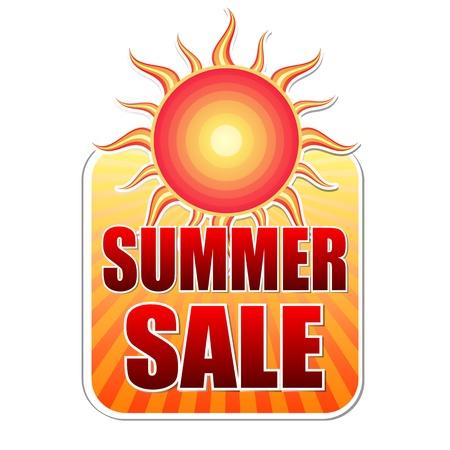 여름 판매 배너 - 붉은 색과 오렌지색 sunrays, 비즈니스 개념 노란색 레이블 텍스트 스톡 콘텐츠