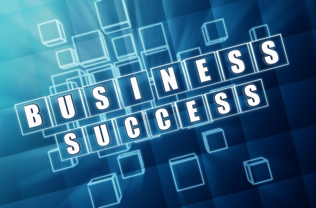 headway: business success - text in 3d blue glass cubes with white letters, business growth concept words