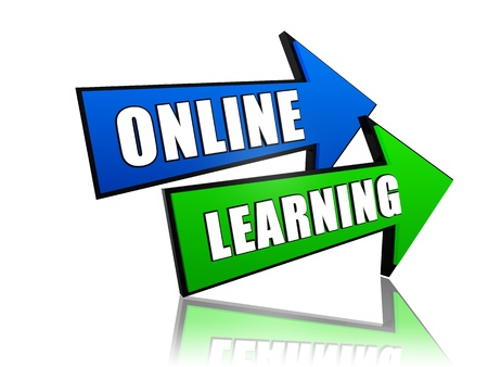 distant: online learning - text in 3d arrows, education concept words