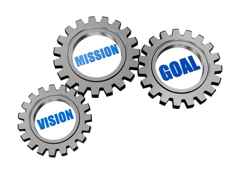 realization: vision, mission, goal - text in 3d silver grey gearwheels, business concept words