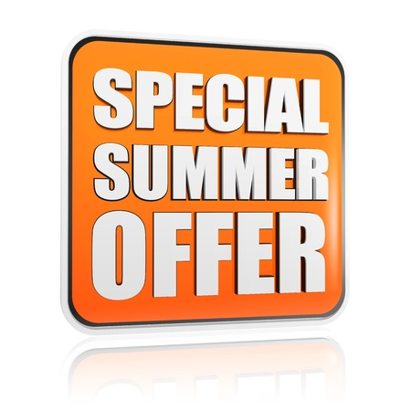 decreasing: special summer offer button - 3d orange banner with white text, business concept