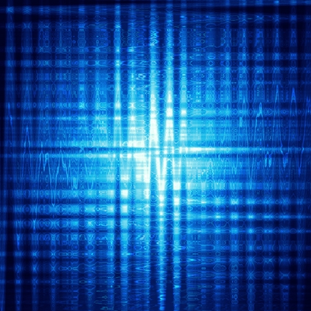 ray trace: abstract blue background with shining squares and lights Stock Photo