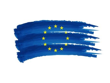 유럽 연합 국기 - 고립 된 손으로 그린 그림 스톡 콘텐츠