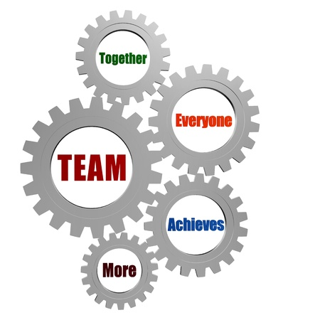 buddies: team - together, everyone, achieves, more - business concept words in 3d silver grey gearwheels Stock Photo
