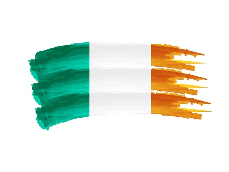 irish banners: Illustration of Isolated hand drawn Irish flag