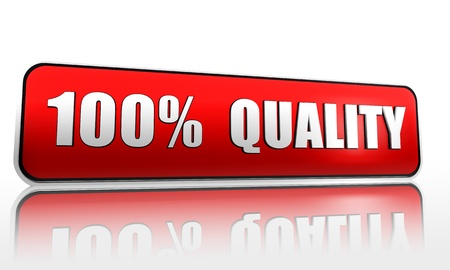 3d button: 100 percent quality red 3d banner with text