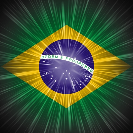 Abstract background Brazilian national flag with light rays photo