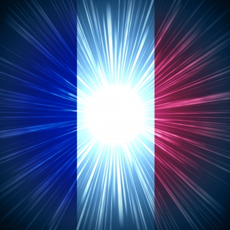 Abstract background French national flag with light rays photo