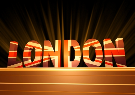 3d text London with British flag over gold postmen  photo