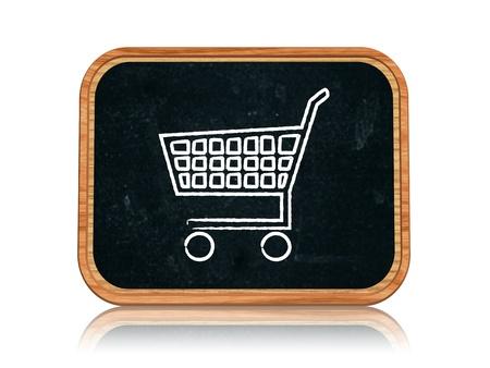 ショッピングカートのチョークと 3 d の黒板バナー