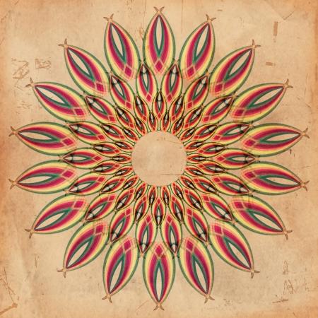simbolo de paz: resumen de flores de color sobre fondo de papel viejo